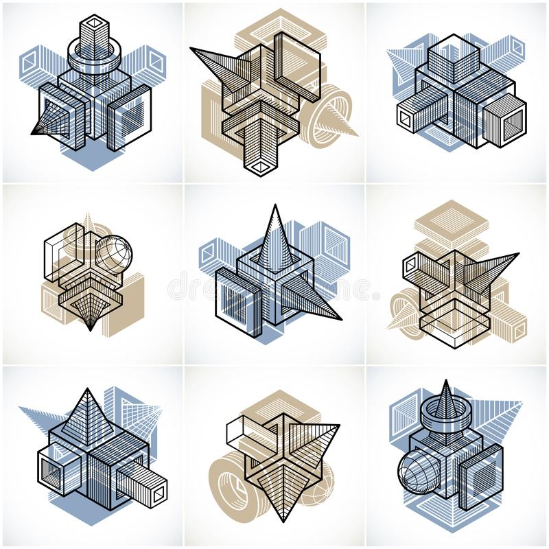 Different engineering constructions collection, abstract vectors. Set. Geometric artistic composition royalty free illustration