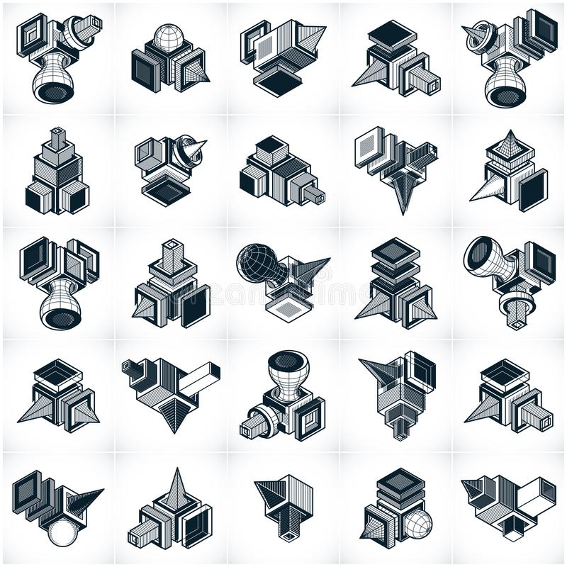 Different engineering constructions collection, abstract vectors. Set. Abstraction, special artistic shape royalty free illustration