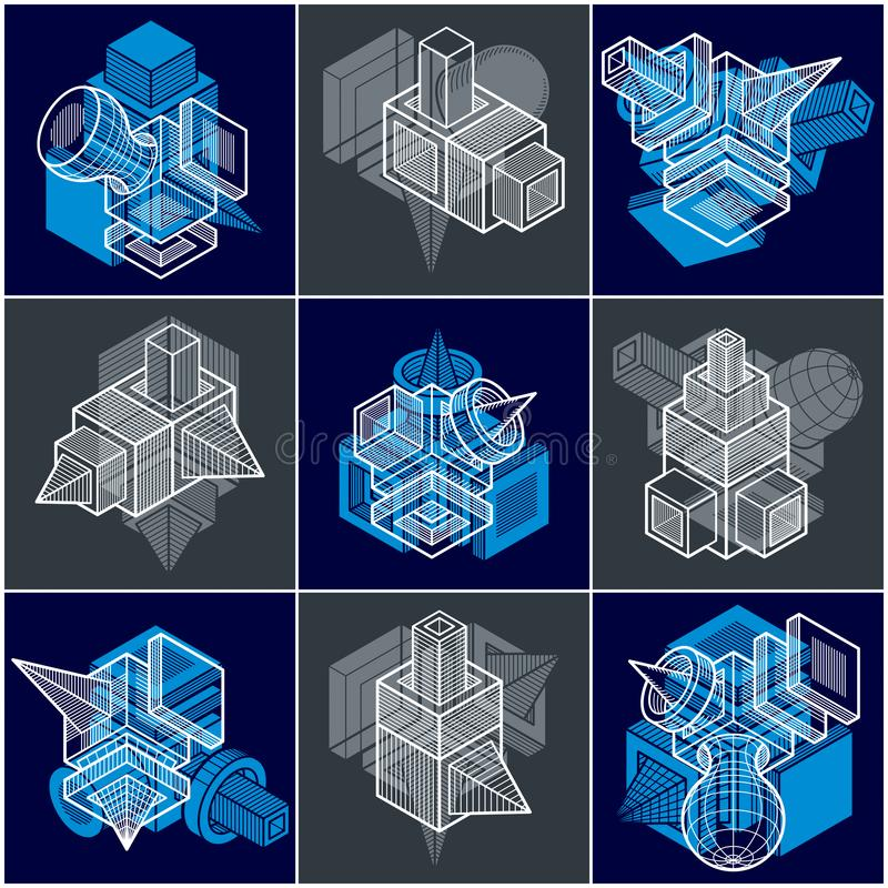 Different engineering constructions collection, abstract vectors. Set.Abstraction, special artistic shape royalty free illustration