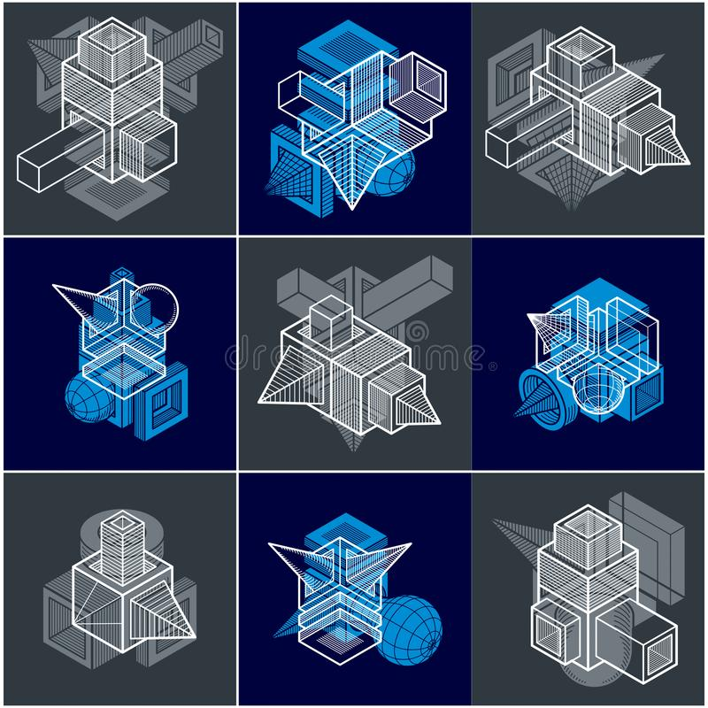 Different engineering constructions collection, abstract vectors set. Modern geometric art composition stock illustration
