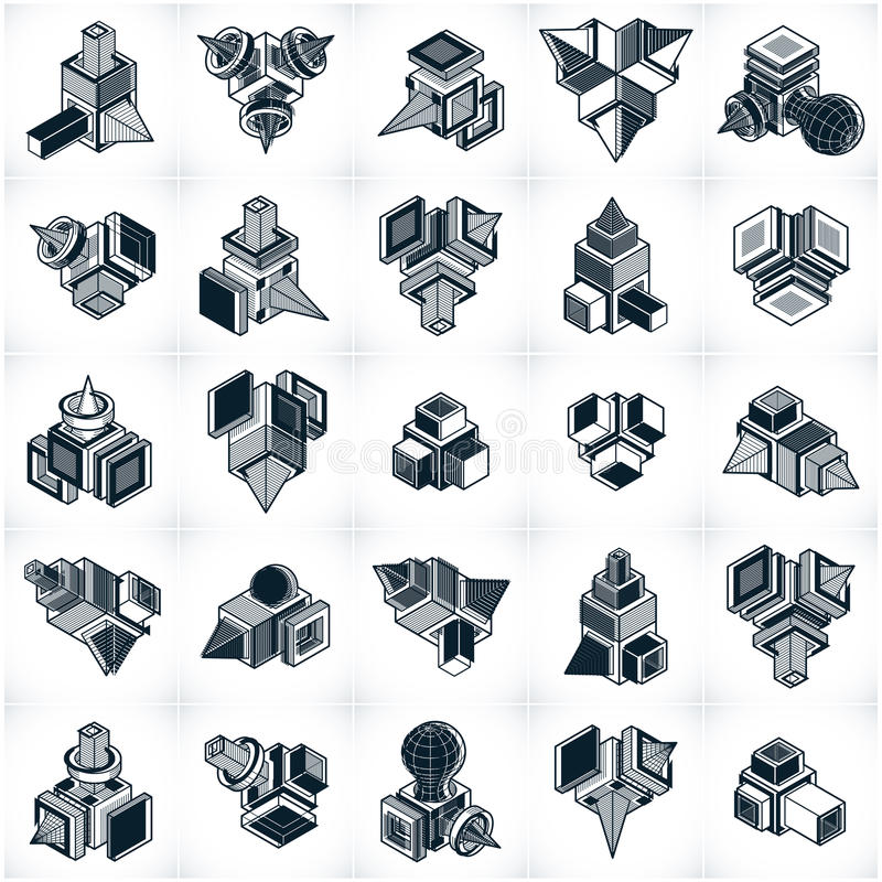 Different engineering constructions collection, abstract vectors. Set. Modern geometric art illustration royalty free illustration