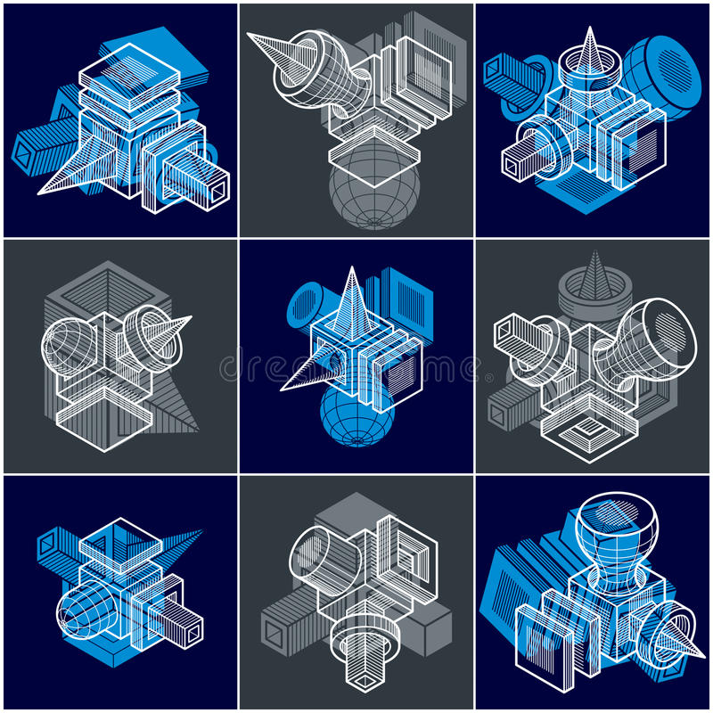 Different engineering constructions collection, abstract vectors. Set. Modern geometric art illustration vector illustration