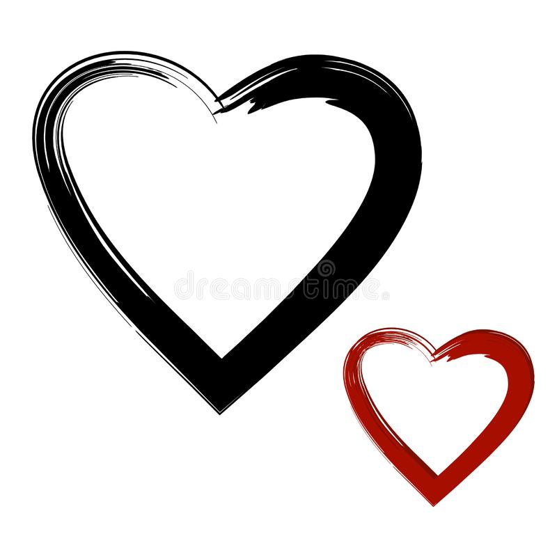 He & She, Different & Equal. Hand Drawn Vector Icon. Two Grunge Hearts Isolated on White Background. Black & Red Color. Vector Illustration vector illustration