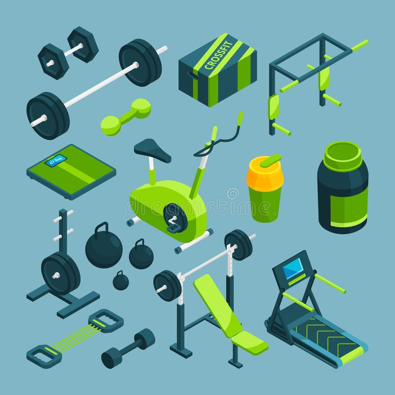 Different equipment for bodybuilding and powerlifting. Fitness accessories royalty free illustration