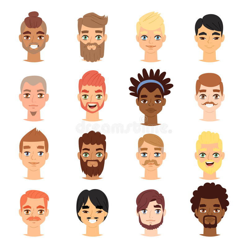 Different ethnic nationality affiliation man head face vector icons. Boy emoji face icons cute different skin color symbols. Long and short haircut and beard vector illustration
