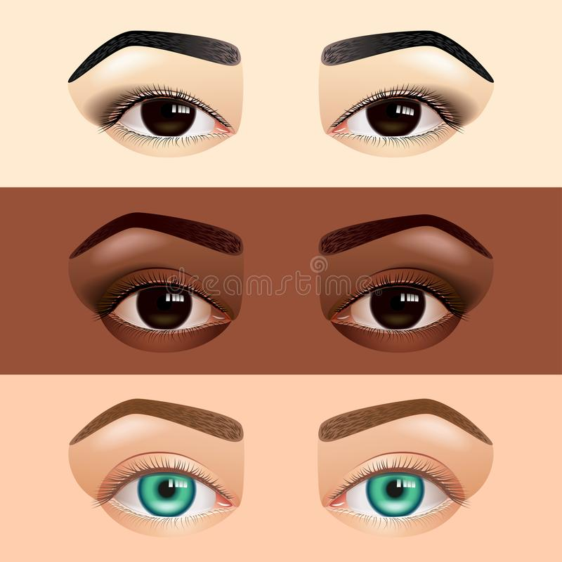 Different ethnicity women eyes asian caucasian african vector illustration. Different ethnicity women eyes asian caucasian african realistic vector illustration stock illustration