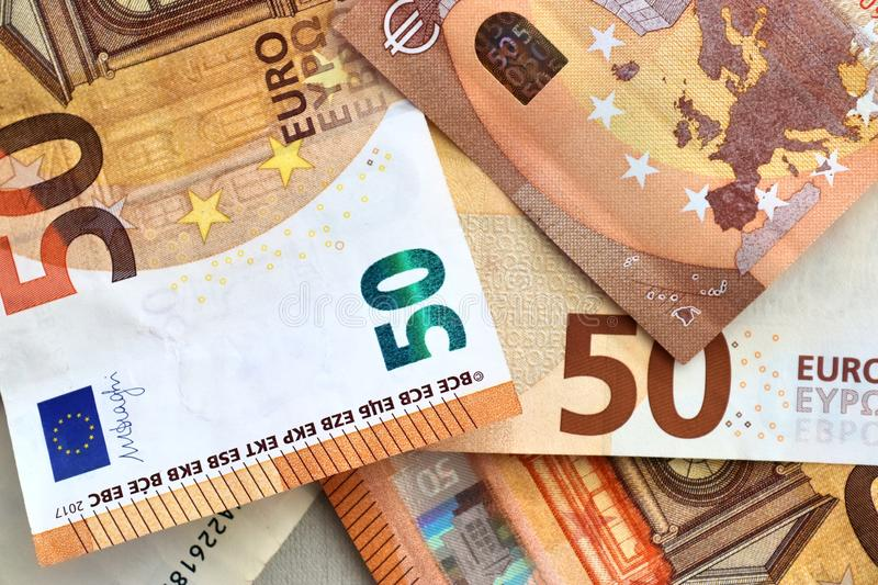 Different euro bank notes in a detailed close up view stock photos