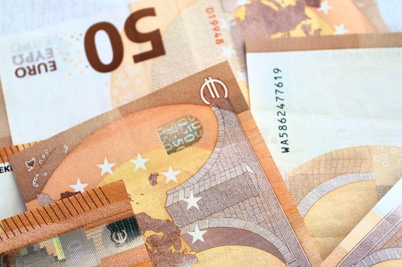 Different euro bank notes in a detailed close up view royalty free stock images