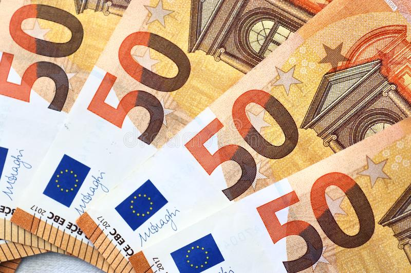 Different euro bank notes in a detailed close up view royalty free stock photo