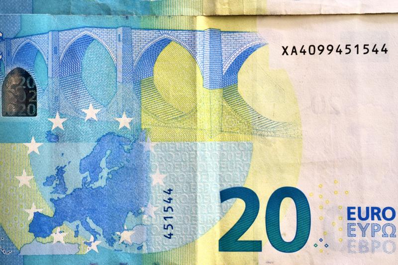 Different euro bank notes in a detailed close up view royalty free stock photography