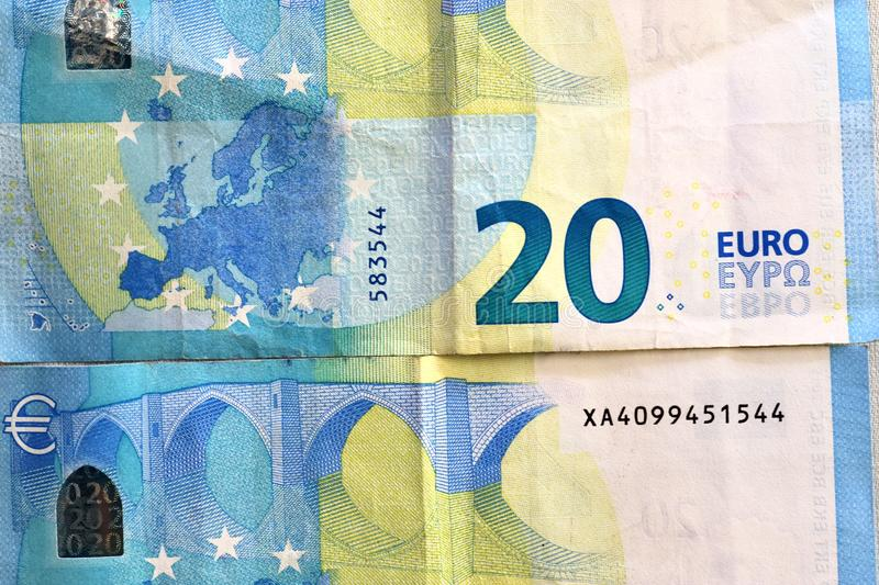 Different euro bank notes in a detailed close up view royalty free stock photos