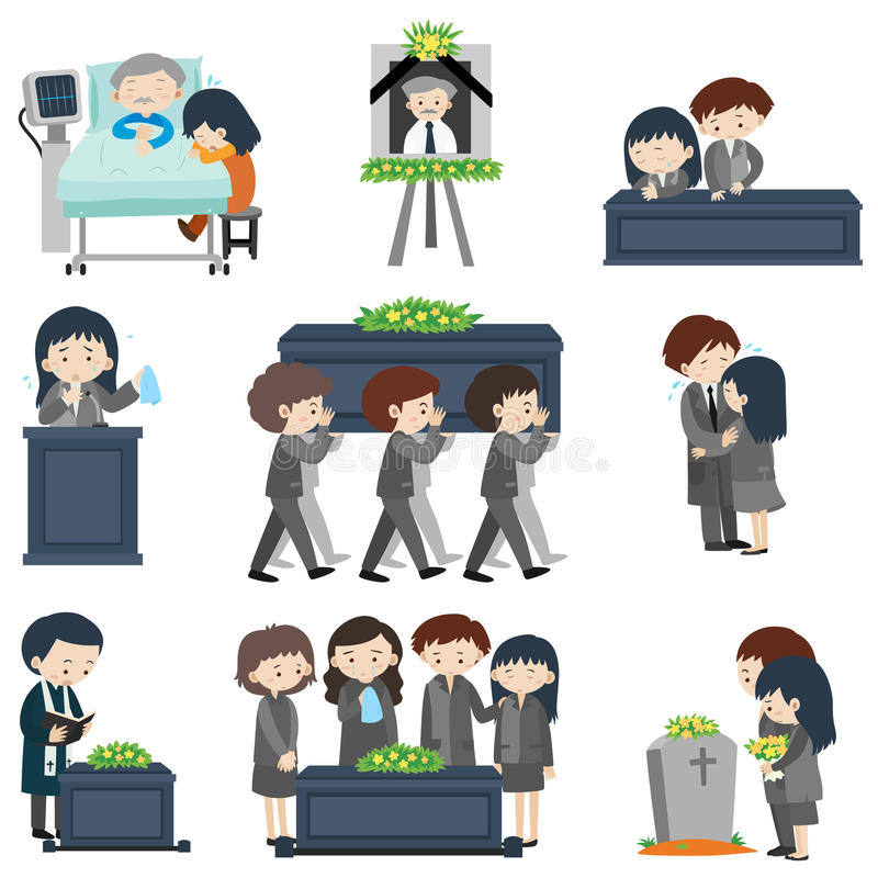 Different events at funeral royalty free illustration