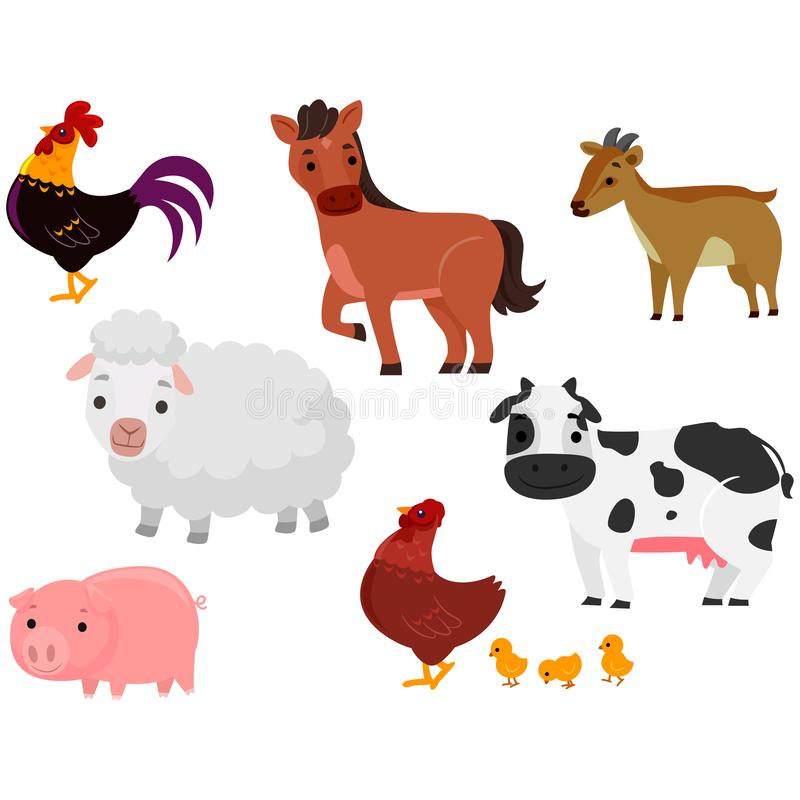 Vector Illustration of Different Farm Animals in white background. Different Farm Animals in white background in side ways position royalty free illustration