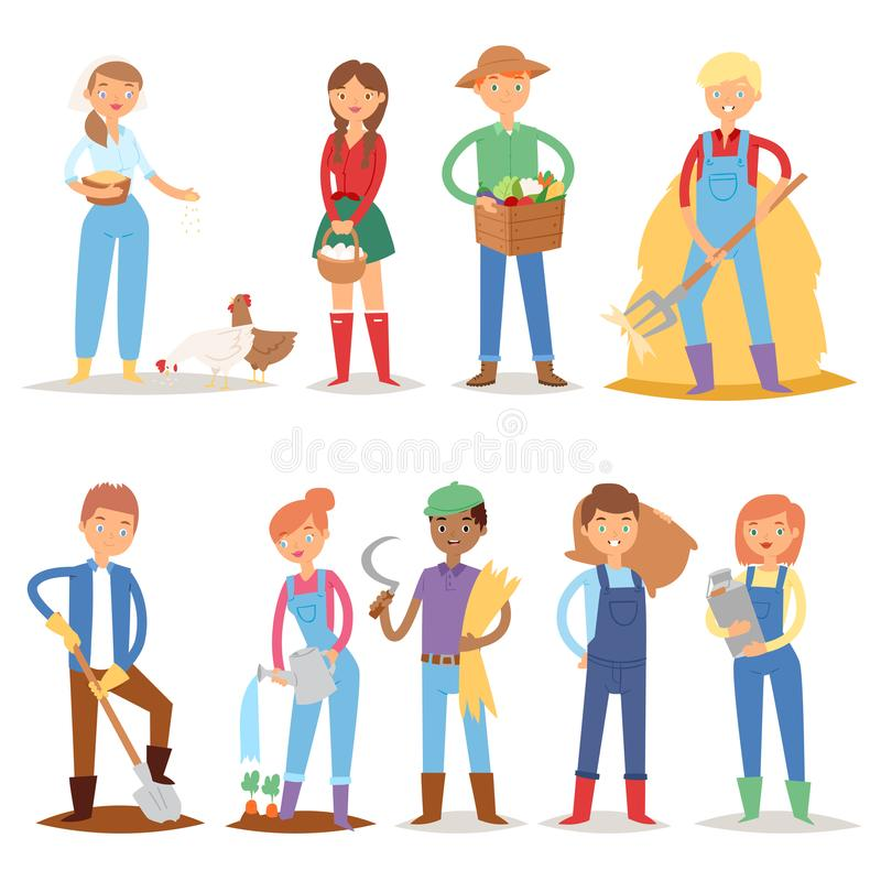Different farmer workers people character agriculture person profession farming life vector illustration. royalty free illustration