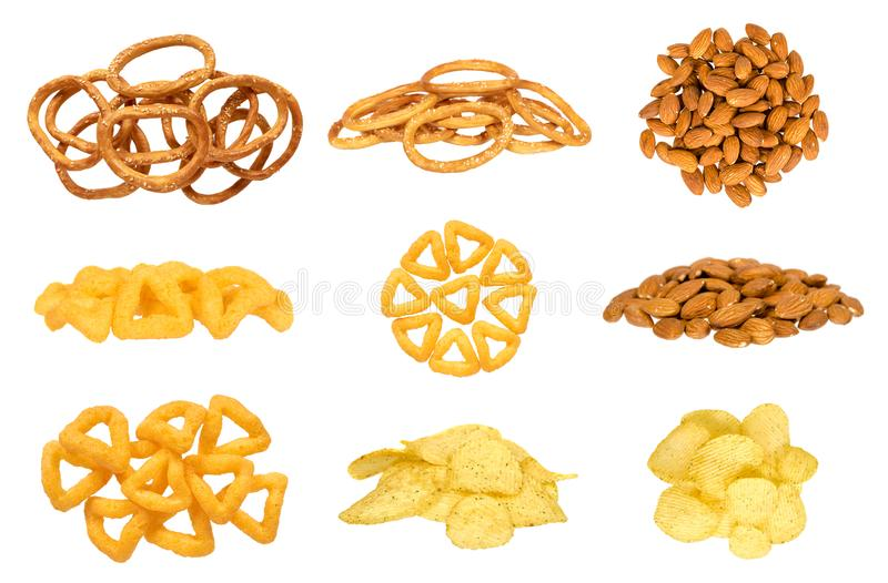 Different fast food snacks, set and collection royalty free stock photo