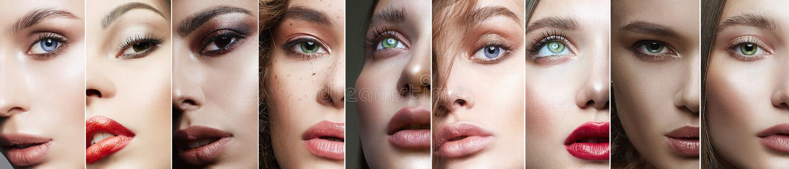Different female eyes. collage of beautiful women stock image