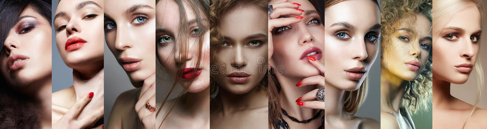 Different female faces. collage of beautiful women stock image