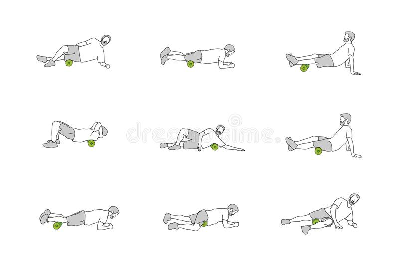 Different figures of person training with foam roll. Nine figures of person training with foam rolls in different positions stock illustration