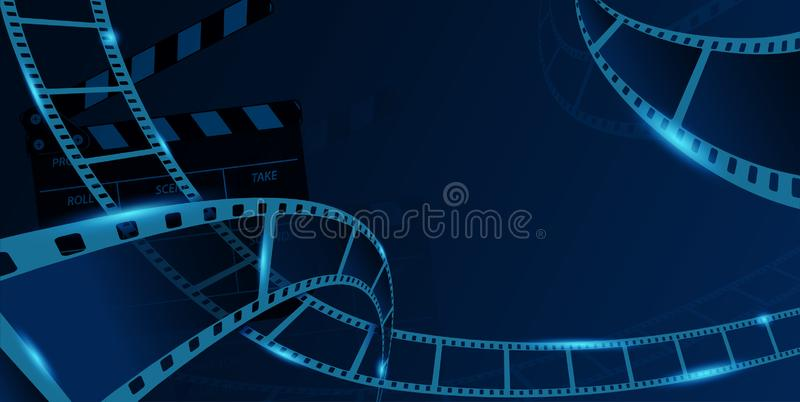 Different film strip frame with clapperboard isolated on blue background. Design template cinema festival banner, brochure, flyer stock illustration