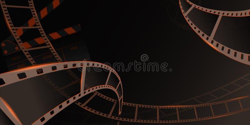 Different film strip frame with clapperboard isolated on grey background. Design template cinema festival banner. Brochure, flyer, poster, tickets, leaflet stock illustration