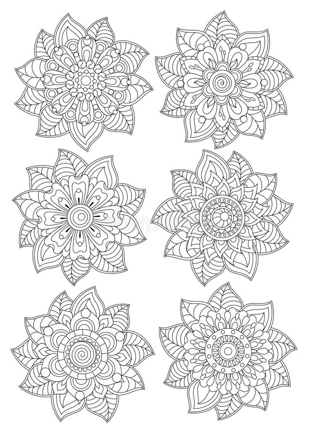 Free Different Flowers In Leaves For Coloring By Children And Adults, In The Style Of Zentangle. Stock Photo - 184117810