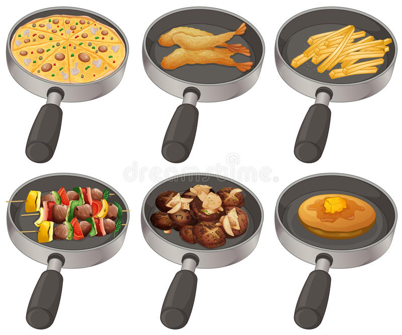 Different food in the frying pan. Illustration stock illustration
