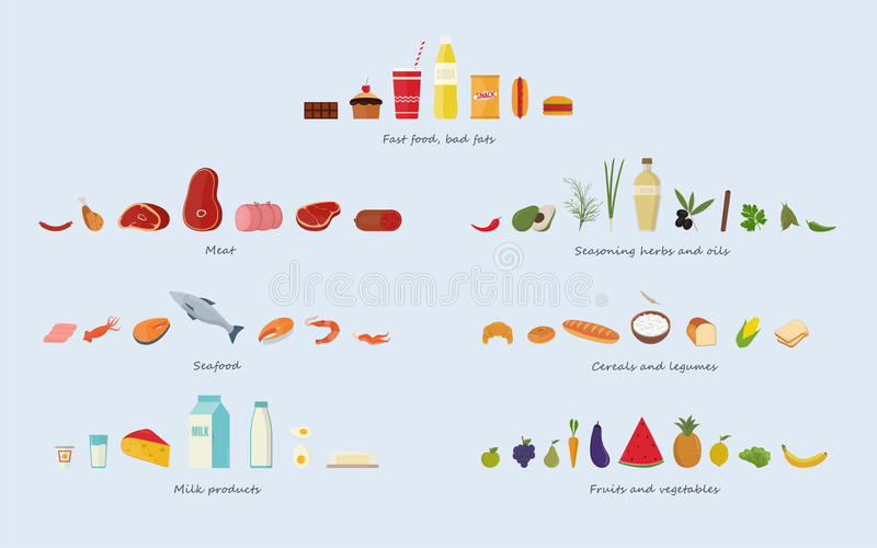 Different food groups Meat, seafood, cereals, fruits and vegetables, herbs and oils, fast food and sweets, dairy. Products stock illustration