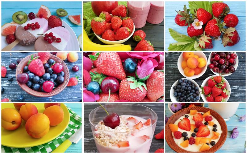 Different food summer collage. Sweet royalty free stock images