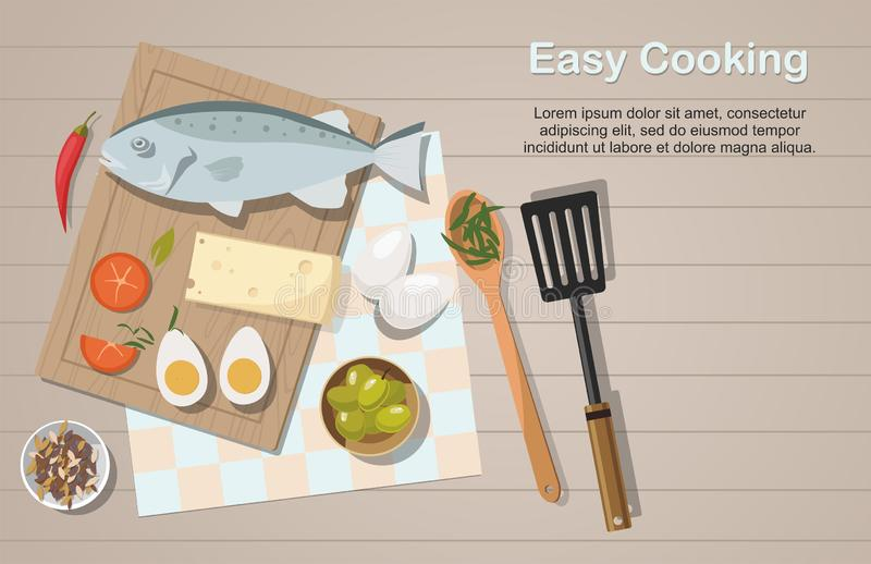 Different food on the table. Egg, Vegetables and fish. Top view. Cooking concept. royalty free illustration