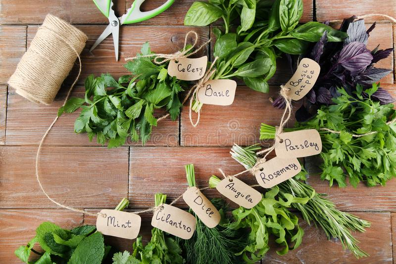 Different herbs. Different fresh herbs on brown wooden table stock image