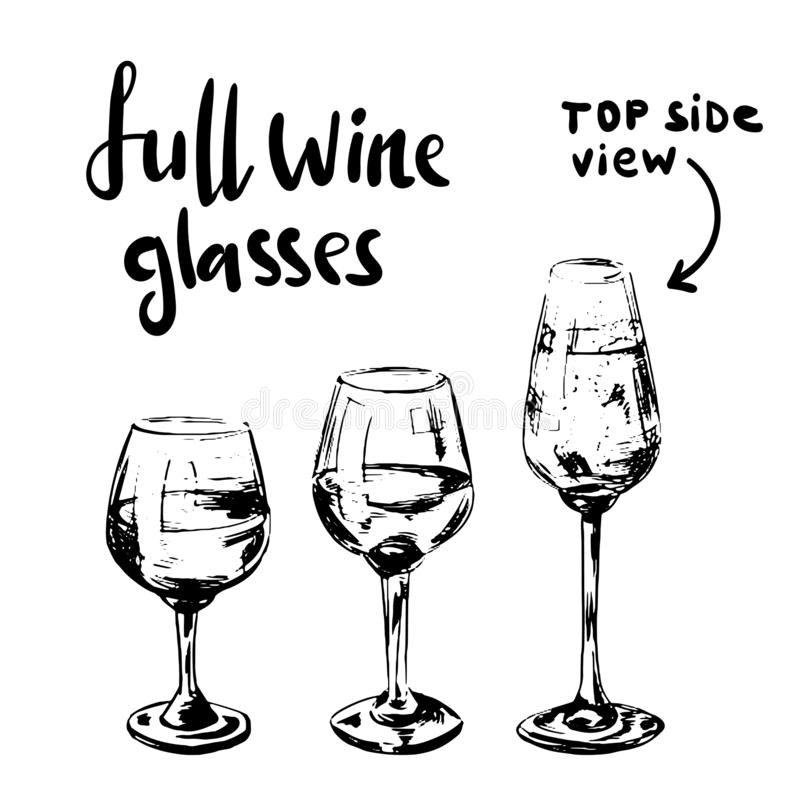 Different full wine glasses royalty free stock photo