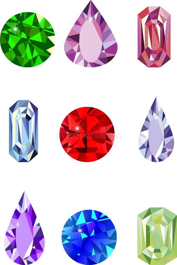 Different gemstones. Diamond icon isolated royalty free illustration