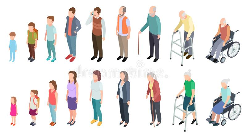 Different generations. Isometric people adult female male characters kids girl boy old man woman human age evolution royalty free illustration