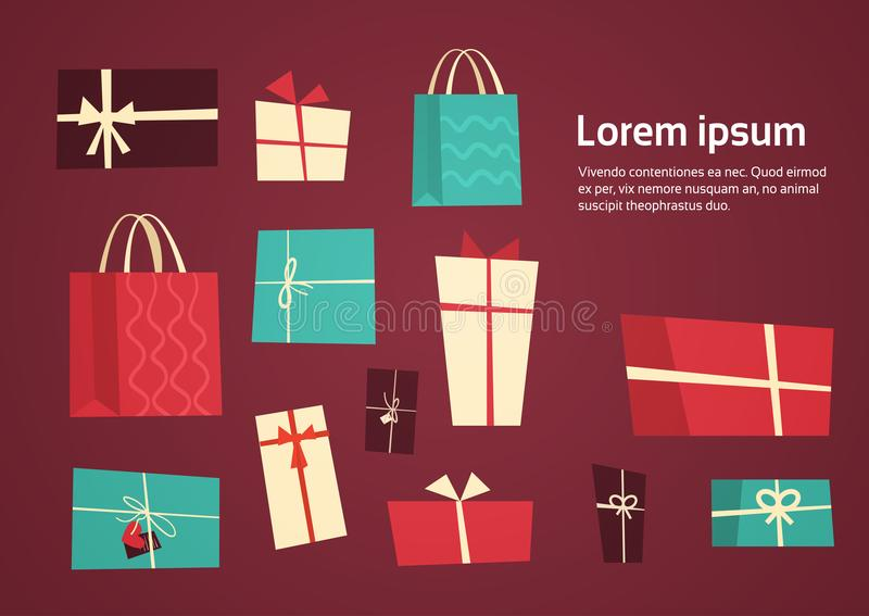 Different Gift Boxes Collection Presents Package With Ribbons Set Holiday Concept. Flat Vector Illustration royalty free illustration