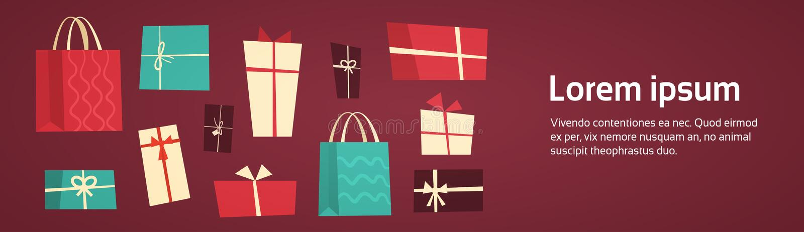 Different Gift Boxes Collection Presents Package With Ribbons Set Holiday Concept. Flat Vector Illustration stock illustration