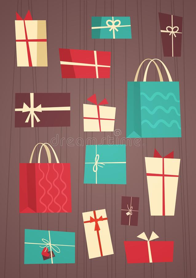 Different Gift Boxes Collection Presents Package With Ribbons Set Holiday Concept. Flat Vector Illustration vector illustration