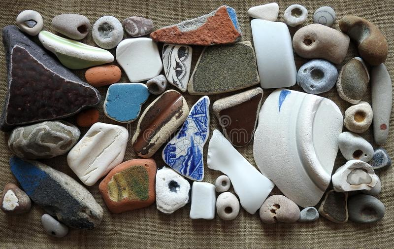 Different colors and shape sea goodies, Lithuania royalty free stock image