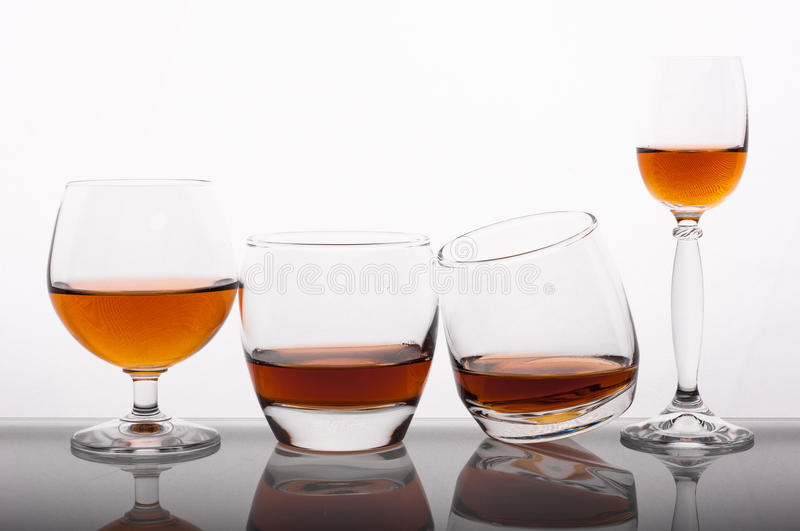 Different glass of whisky stock photos