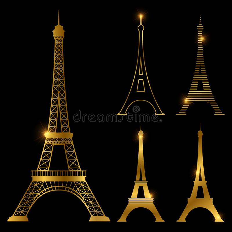 Different golden eiffel tower vector landmark set. Paris symbol icons. France symbol monument in gold style illustration stock illustration