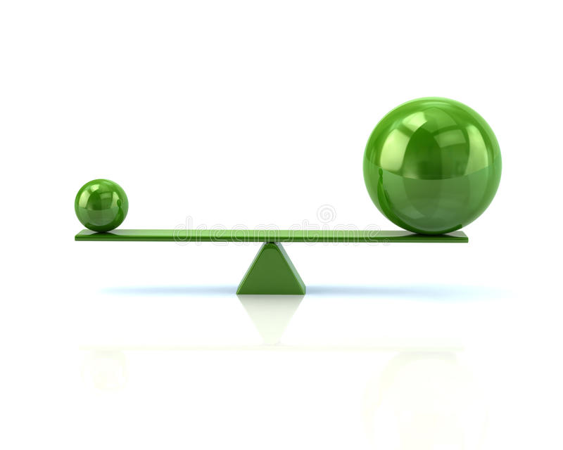 Different green spheres balancing on a seesaw royalty free illustration