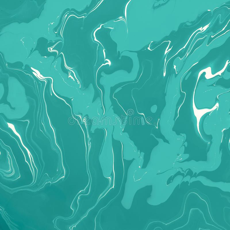 Different green waves and swirls. Abstract marble background or texture. Acrylic Fluid Art.  royalty free stock images