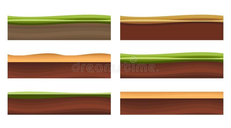 Different Ground Platformer Level Floor Design vector illustration