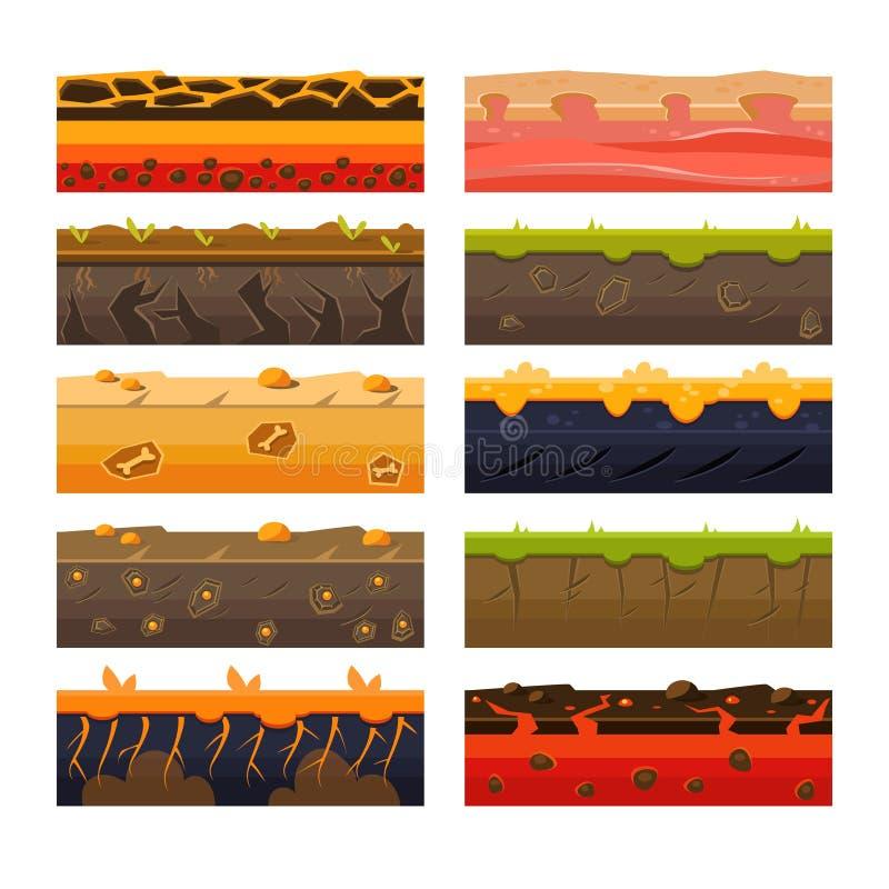 Different Ground Platformer Level Floor Design Set vector illustration