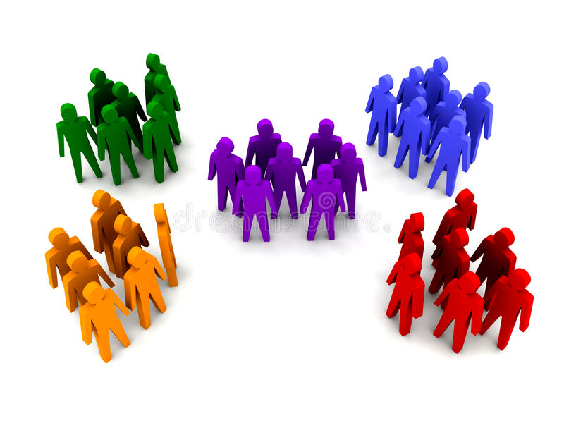 Different groups of people. stock illustration