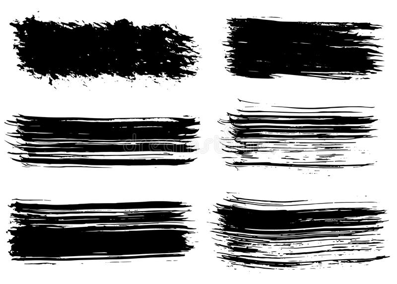 Hand drawn grunge brush strokes. royalty free illustration