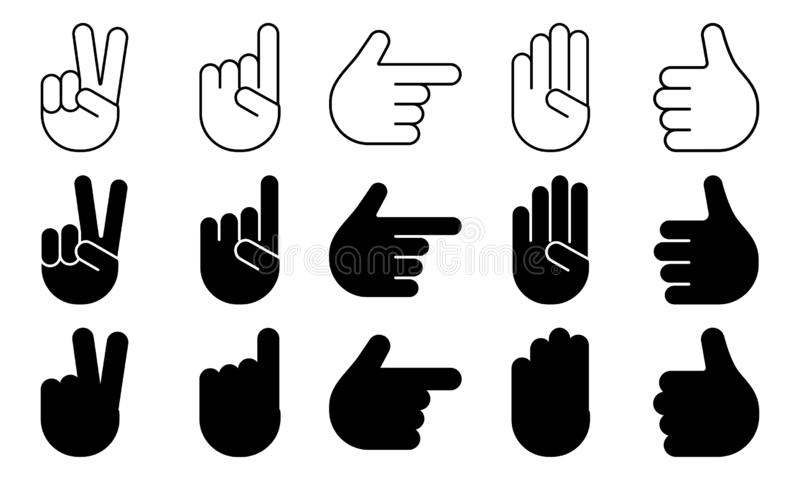 Different hands gestures of human, set of black and white icons, outline, flat design, silhouettes. Vector vector illustration
