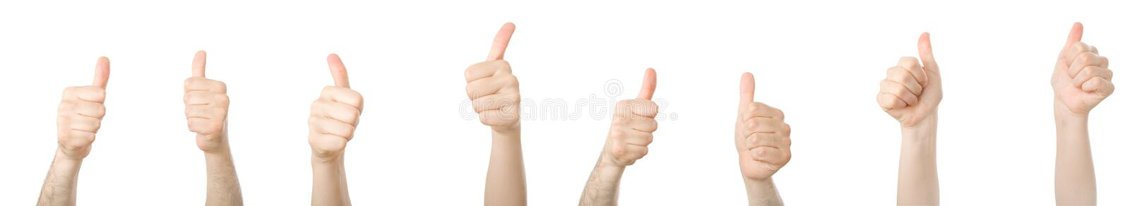 Different hands with thumbs up stock photography