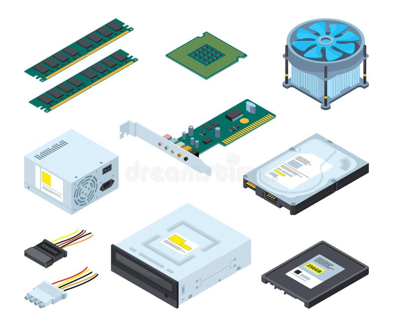 Different hardware parts and components of personal computer. Vector isometric pictures set. Memory and hdd device illustration vector illustration