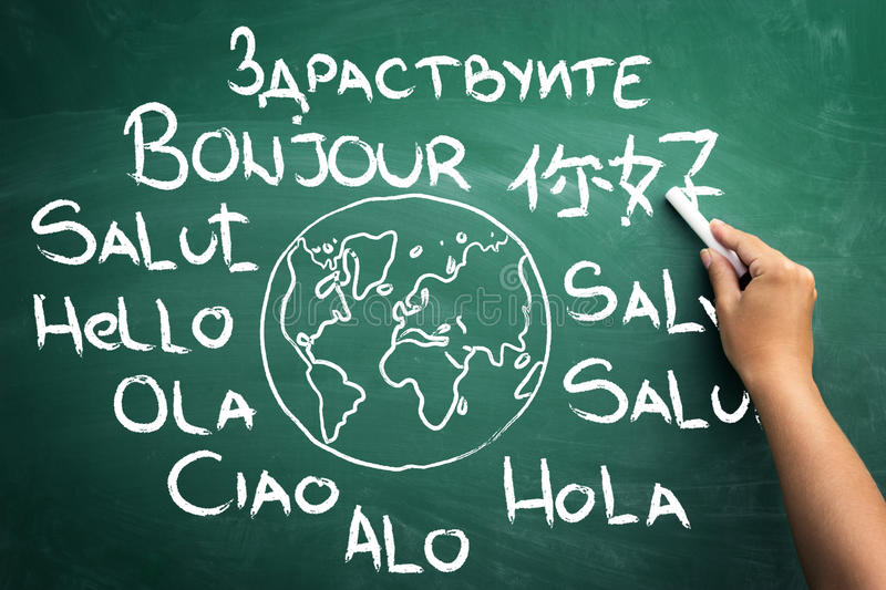 Different hello all over the world stock photos