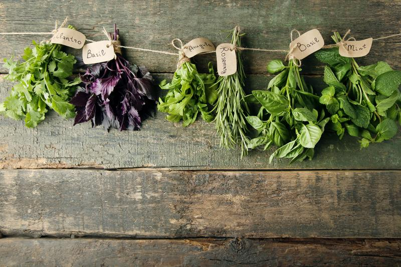 Different herbs. Different fresh herbs on wooden background stock photo